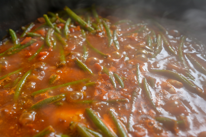 תבשיל שעועית ירוקה עם עוף