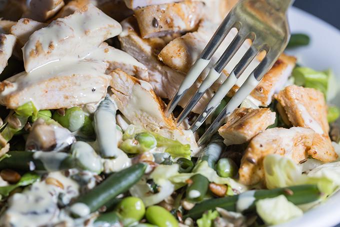 ביס סלט עם חזה עוף יחד עם ירקות ירוקים עם רוטב