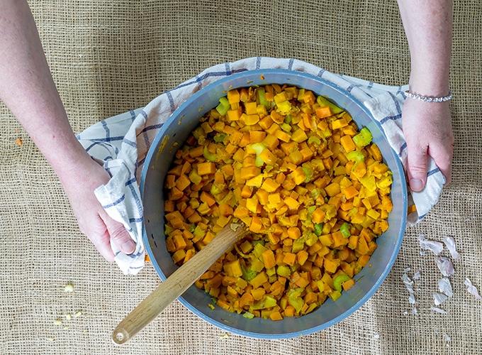 ירקות למרק לאחר בישול